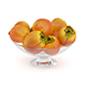 Persimmon Fruits in Glass Bowl