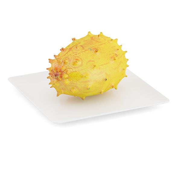 Horned Melon on White Plate - 3DOcean Item for Sale
