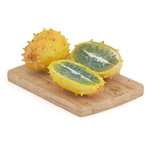 Sliced Horned Melon on Wooden Board - 3DOcean Item for Sale