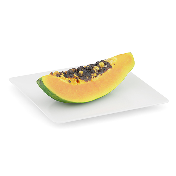 Papaya Slice on White Plate - 3DOcean Item for Sale