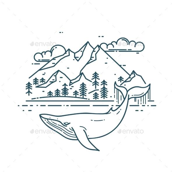 Whale and Mountains Landsape - Landscapes Nature
