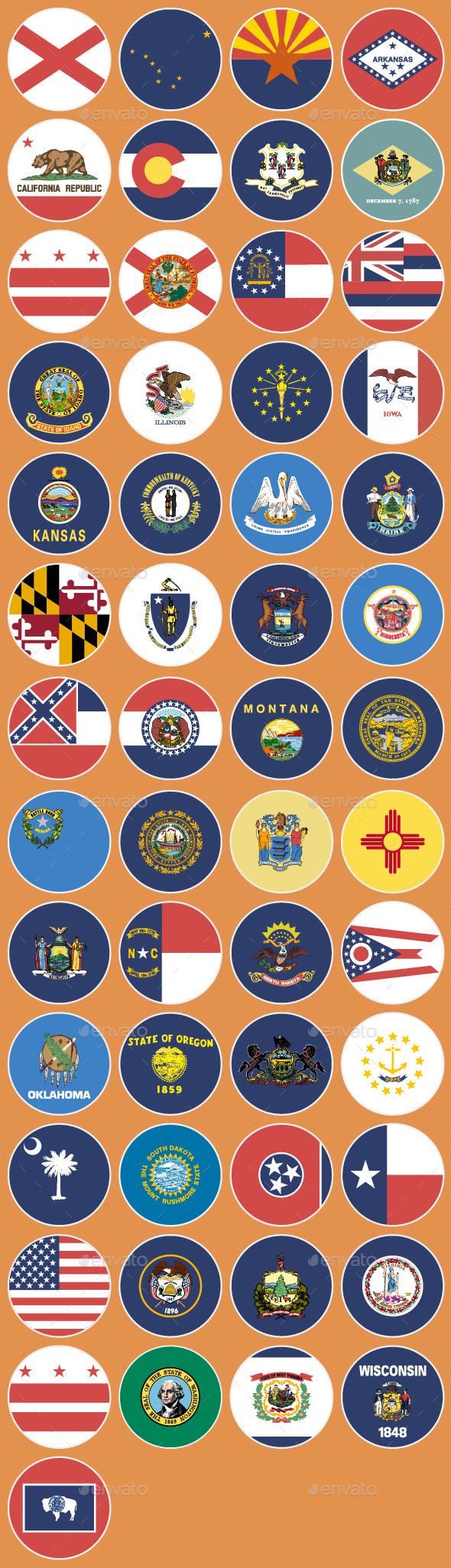 Flat Flag Icons US States - Web Icons