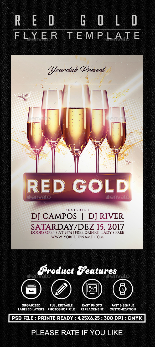 Red Gold Flyer Template - Clubs & Parties Events