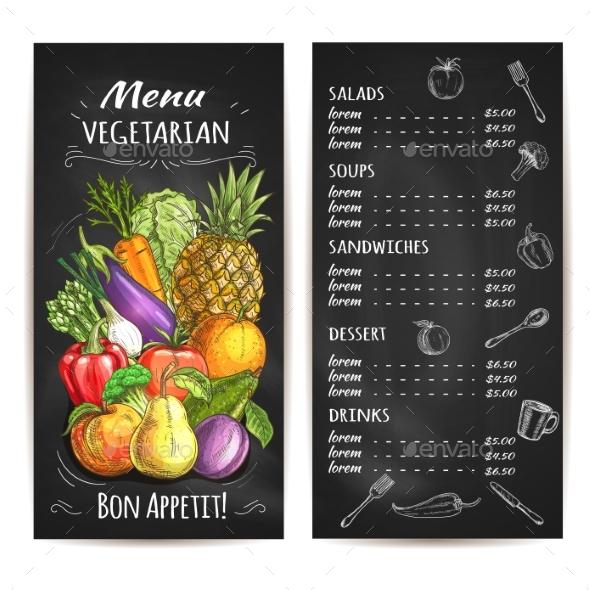 Vegetarian Menu of Vegetables - Food Objects