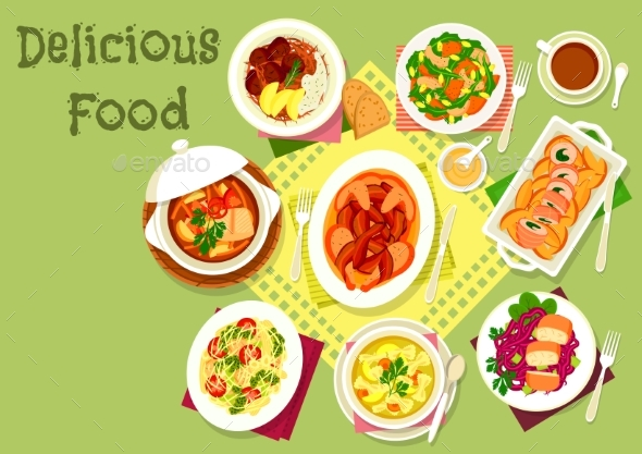 Meat and Fish Dishes with Pasta and Veggies Icon - Food Objects