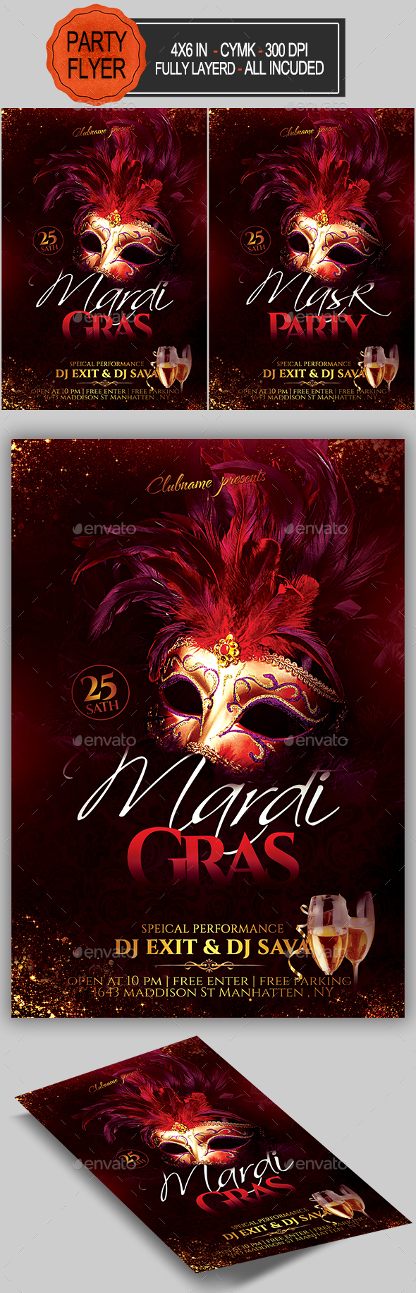 Carnival Mardi Gras Flyer - Clubs & Parties Events