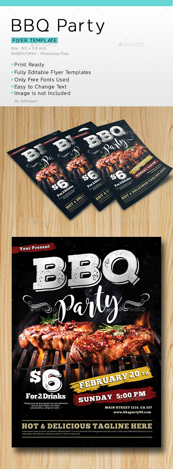 BBQ Party Flyer Template - Restaurant Flyers