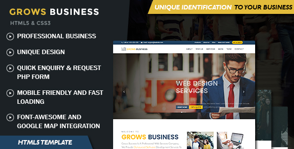 Grows – Professional Single Page HTML5 Template