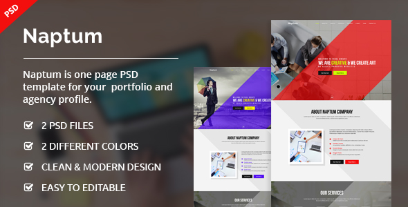 Naptum one page parallax psd template by ecreativesol themeforest 01previewg pronofoot35fo Gallery