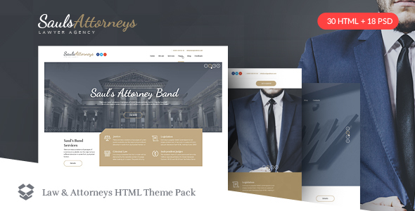 SaulsAttorneys - Lawyers & Attorneys HTML Theme Pack - Corporate Site Templates