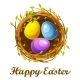 Easter Greeting Card, Bird Nest and Color Eggs - GraphicRiver Item for Sale