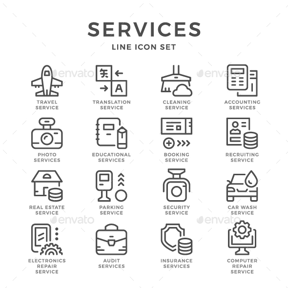 Set Line Icons of Services - Business Icons