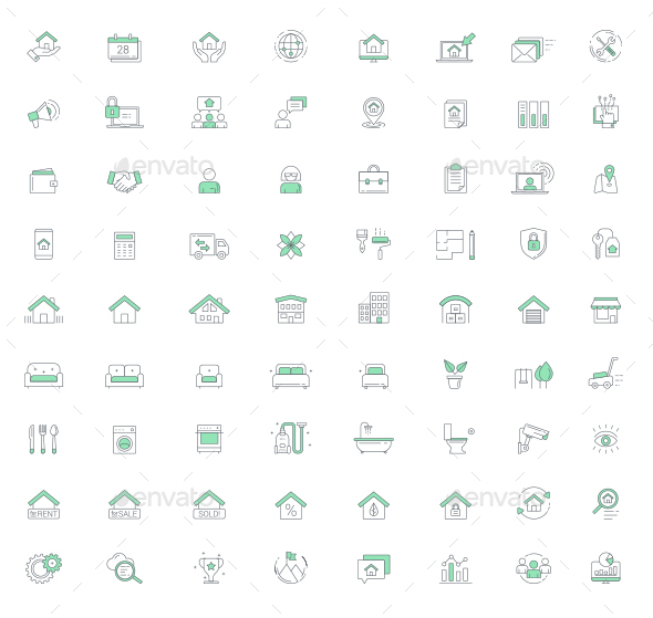 Real Estate Management Vector Line Icon Set - Icons