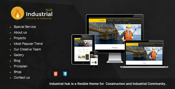 Industrial Hub - Factory / Construction Html Template