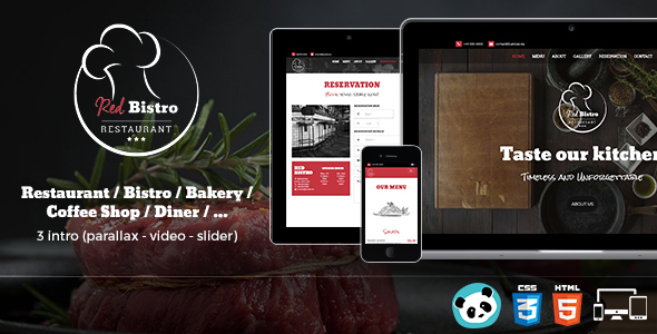 Red Bistro – Restaurant Responsive HTML5 Template