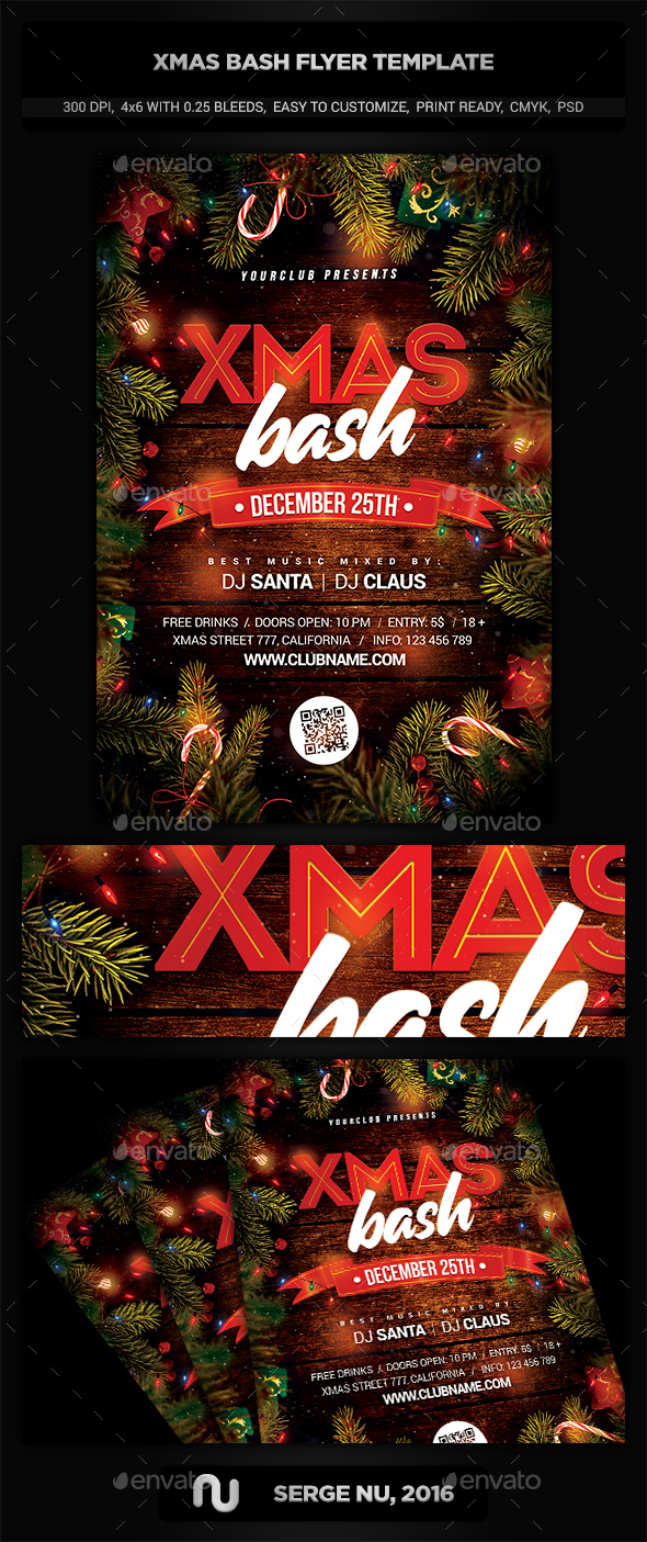 XMAS Bash Party Flyer Template - Holidays Events