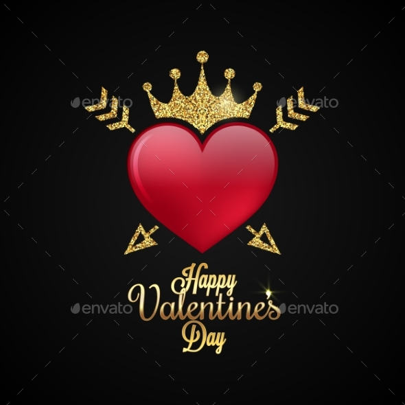 Valentines Day Heart Gold Lettering Background - Valentines Seasons/Holidays