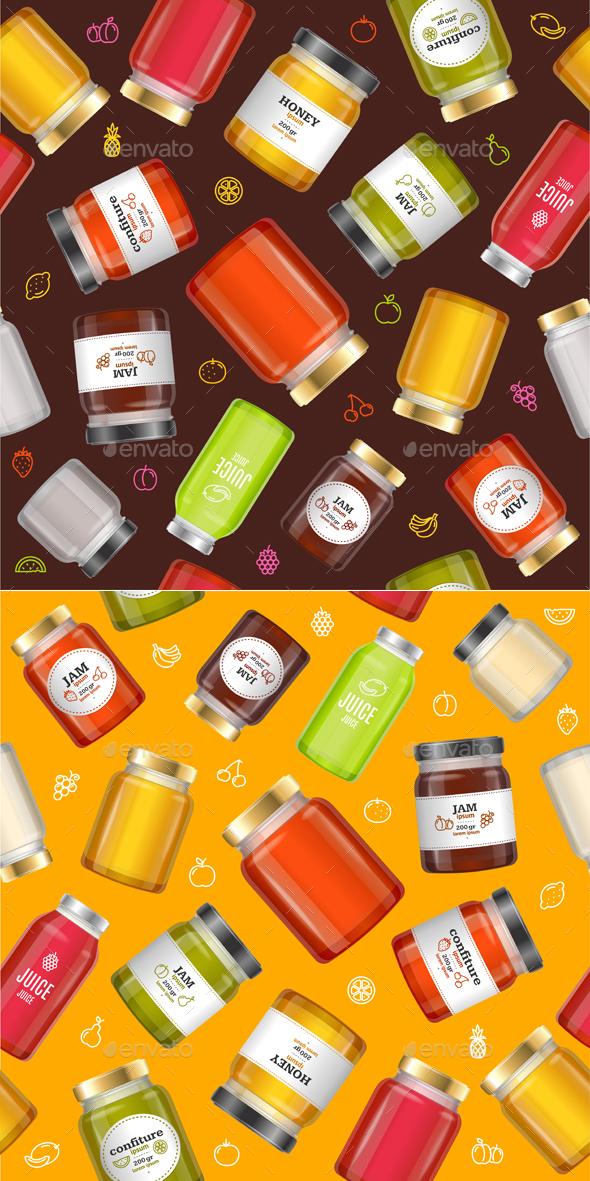 Jar Glass with Jam Background Pattern - Backgrounds Decorative