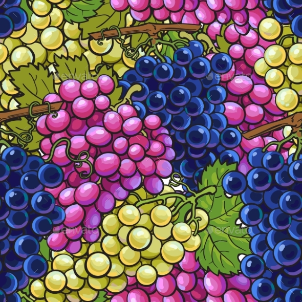 Seamless Pattern with Bunches of Grapes - Backgrounds Decorative