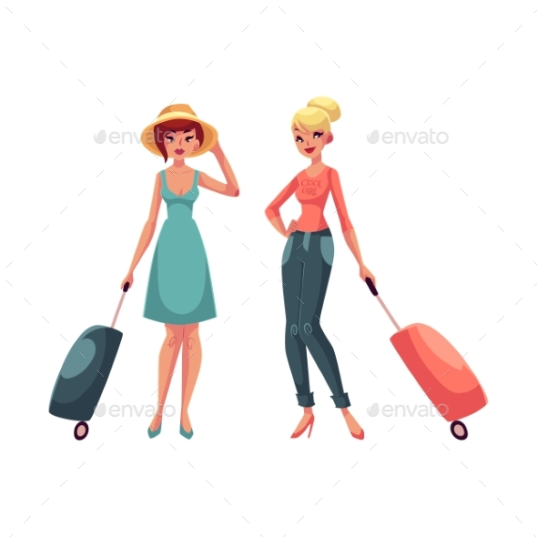 Two Girls Travelling Together - People Characters