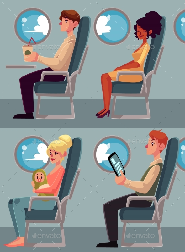 Set of Airplane Passengers Seating in Economy - Travel Conceptual