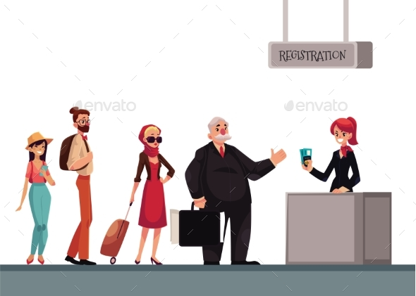 Line To Airport Check-in, Passenger and Baggage - Travel Conceptual
