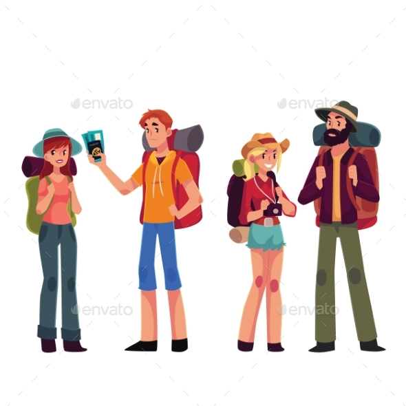 Set of Young Male and Female Travelers - People Characters