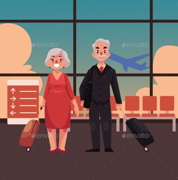 Old Couple with Suitcases in Airport - People Characters