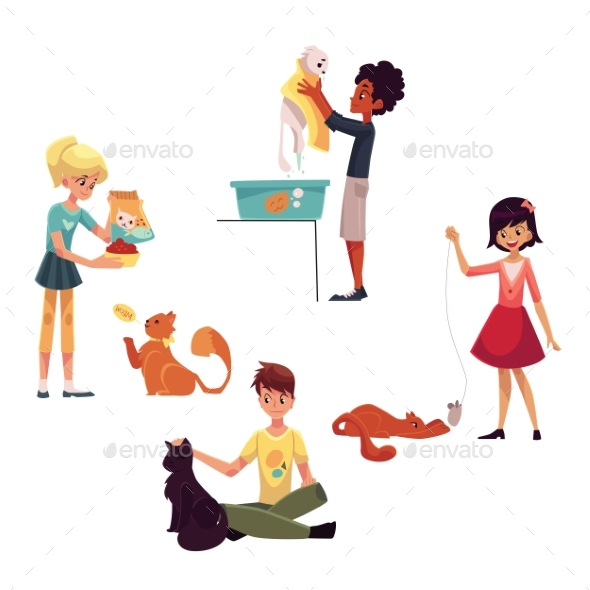 Happy Kids Caring for Cat - People Characters