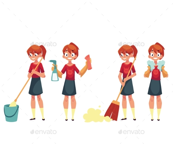 Teenage Girl Cleaning the House Doing Chores - People Characters