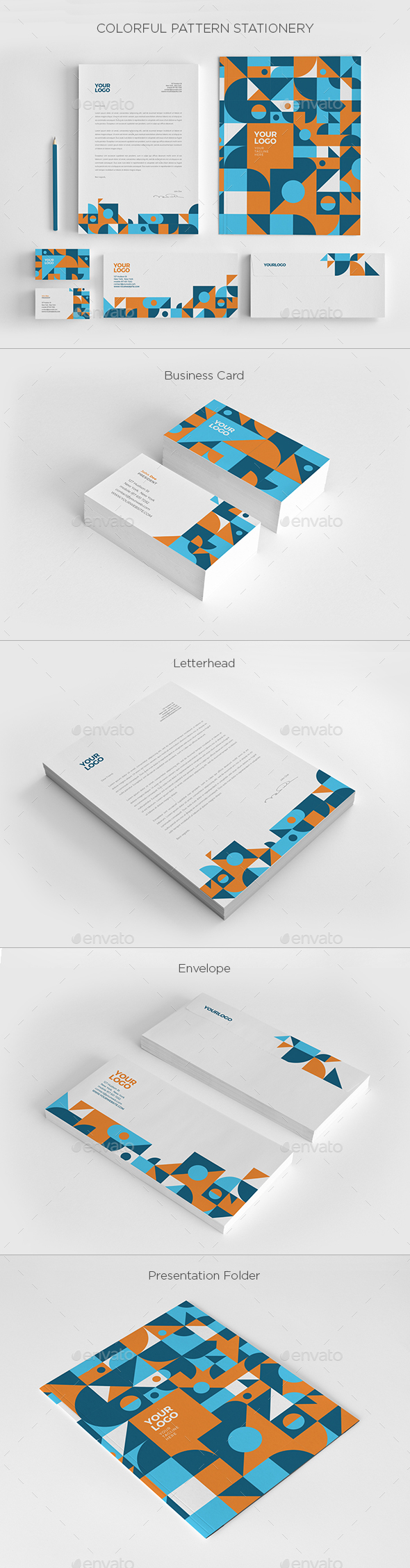 Colorful Pattern Stationery - Stationery Print Templates