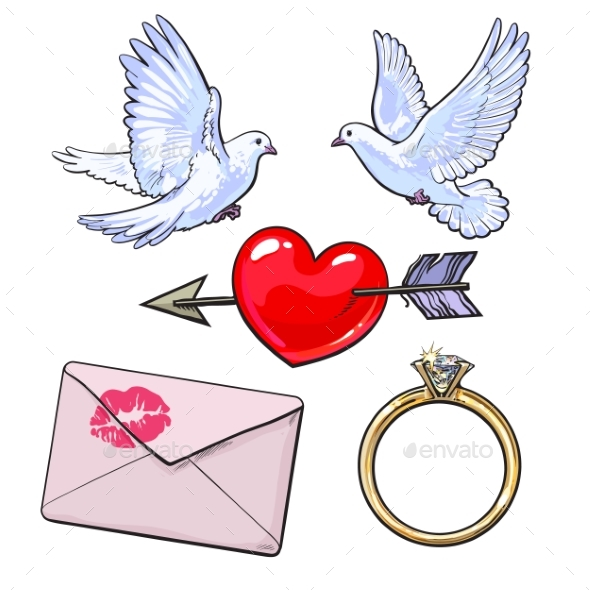 Wedding or Engagement Icon Set with Doves - Weddings Seasons/Holidays