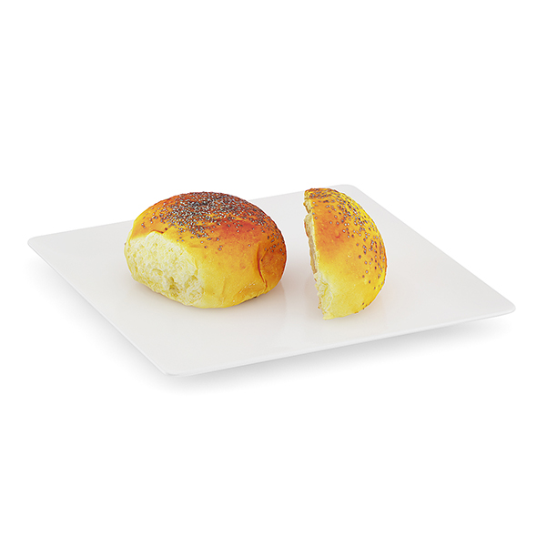 Sliced Bun with Poppy Seeds - 3DOcean Item for Sale