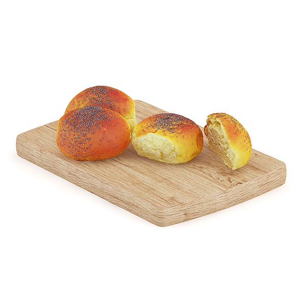 Sliced Bun with Poppy Seeds on Wooden Board - 3DOcean Item for Sale