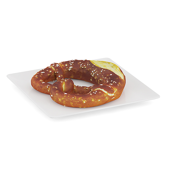 Pretzel on White Plate - 3DOcean Item for Sale