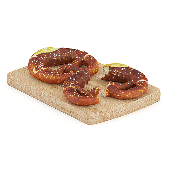 Pretzels on Wooden Board - 3DOcean Item for Sale