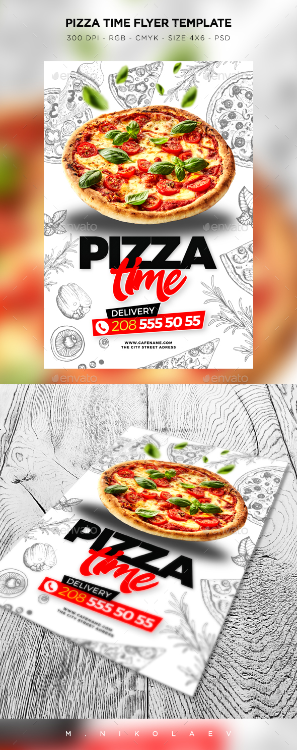 pizza time flyer by maksn graphicriver