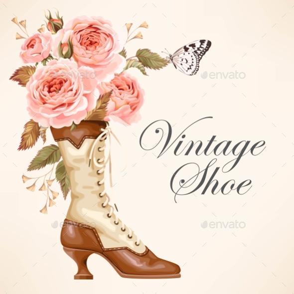 Vintage Shoe with Roses - Weddings Seasons/Holidays