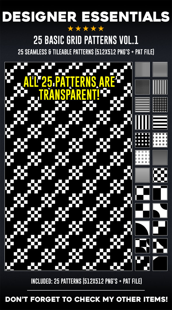25 Tileable / Seamless Basic Grid Patterns - Miscellaneous Textures / Fills / Patterns