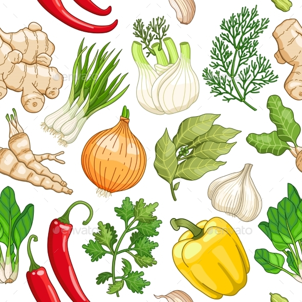 Vector Vegetable Pattern with Herbs on White - Flowers & Plants Nature