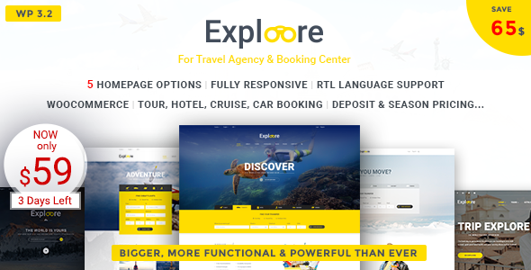 Travel WordPress Theme | EXPLOORE (Travel Booking Exploration eCommerce)