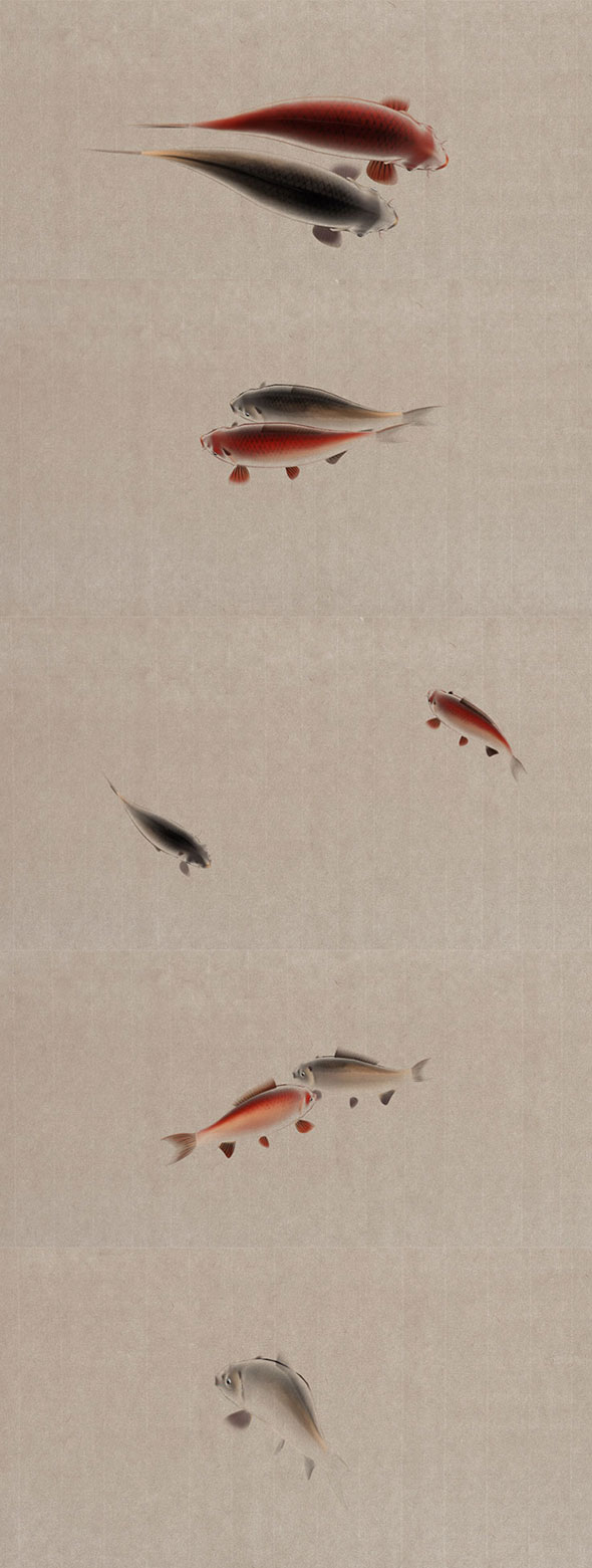 Chinese Painting Style Fish Animation 3D Model Rigged Animated - 3DOcean Item for Sale
