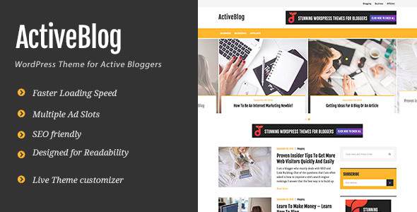 ActiveBlog – Stylish Personal WordPress Theme For Active Bloggers
