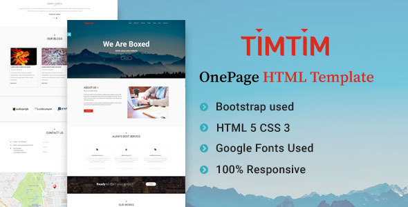Timtim One Page Creative Html Template By Obxtheme Themeforest