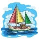 Sailing Boat Colored Vector Sketch with Clouds - GraphicRiver Item for Sale