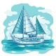 Sailing Boat Monochrome Vector Sketch  with Clouds - GraphicRiver Item for Sale