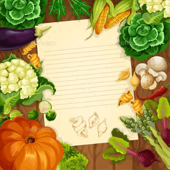 Vegetables Vector Recipe or Message Note Blank - Food Objects
