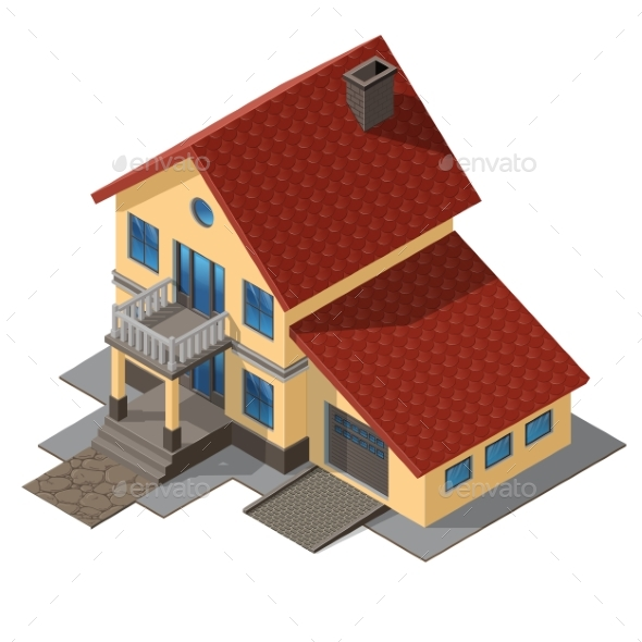 American Cottage, Small Wooden House - Buildings Objects