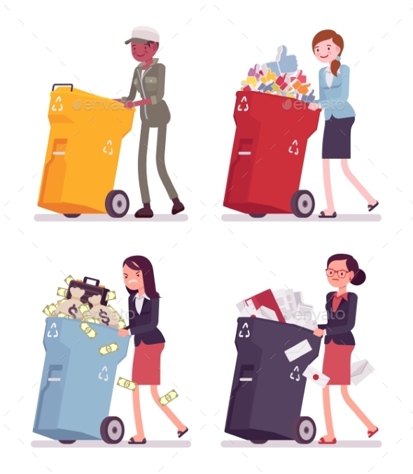 Women Pushing Trash Bins with Likes, Money - People Characters