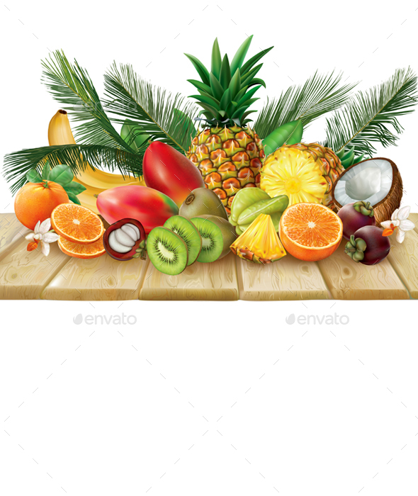 Tropical Fruits Collection on a Wooden Surface - Food Objects